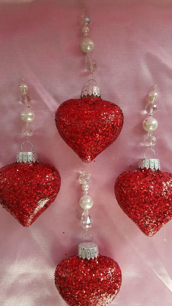 Set 4 *Swarovski Crystal* Beaded Valentineu0027s Day Glitter Glass Hearts  Ornaments