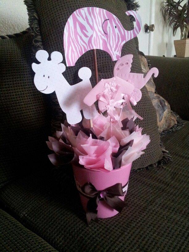 Pink Safari Baby Shower Centerpieces!