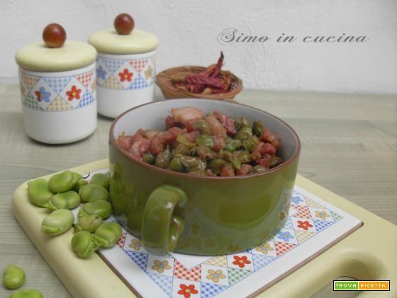 Stufato di fave fresche con pancetta  #ricette #food #recipes