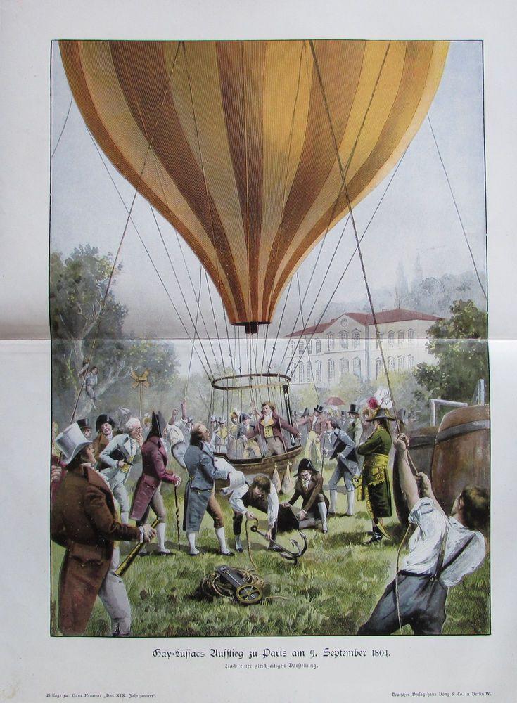 ca. 1901 Gay-Lussacs Aufstieg zu Paris am 9. September 1804 - alter Druck print