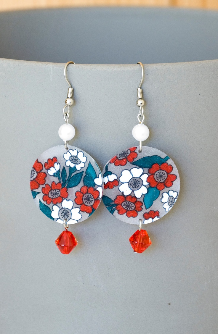 Handmade Shrink Plastic Earrings. $12.00, via Etsy.
