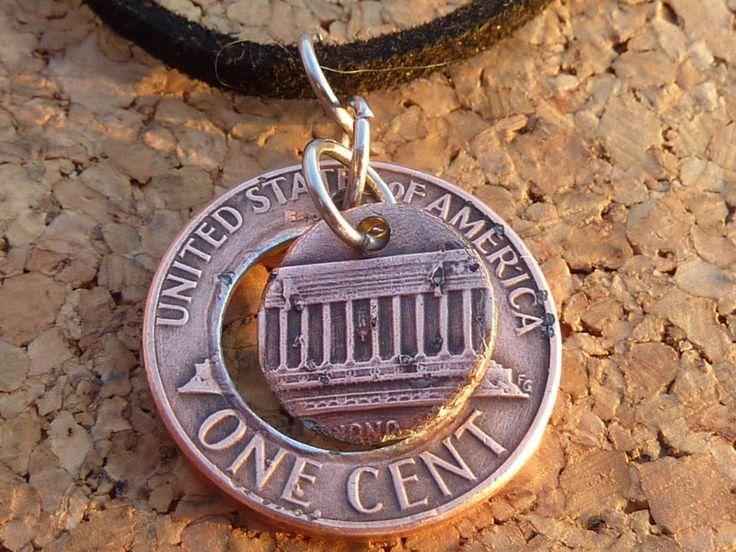Medaillons - Halskette,Leder,mit Original ONE CENT(USA)Anhänger - ein Designerstück von schmuck-checker bei DaWanda