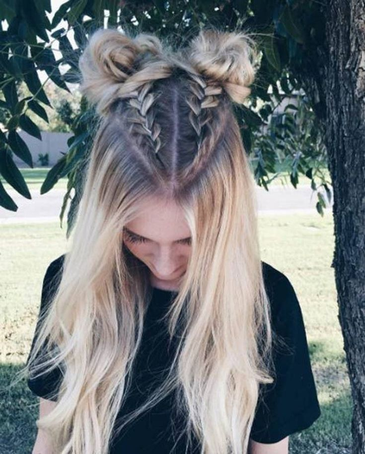 � Love triangular parting � Double 27 Mohawk dutch braid into top knots / high Space buns half updos