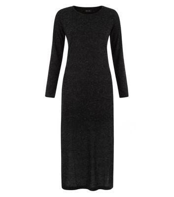 Black Fine Knit Split Side Longline Top