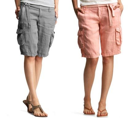 Garment Dyed Belted Linen Cargo Bermuda Shorts