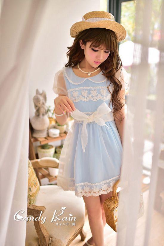 Puff Sleeve Mesh Lace Chiffon Dress, $39.99