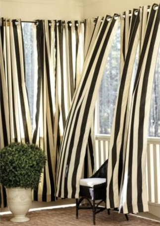 Black And White Striped Outdoor Curtains Black Bar