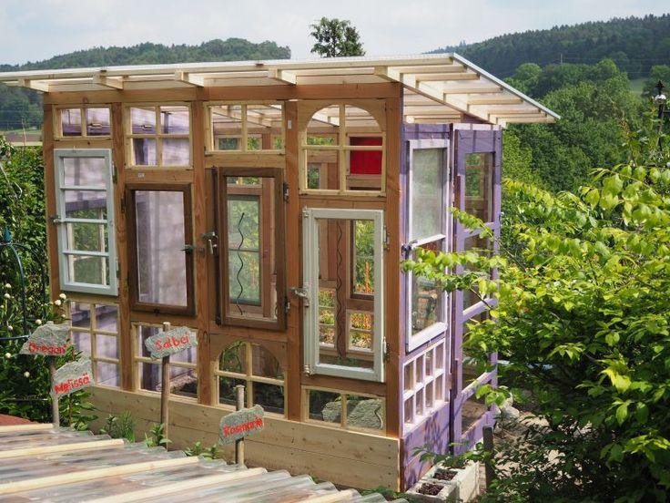 Gartenhaus/Gewächshaus aus alten Fenstern (mit Bildern