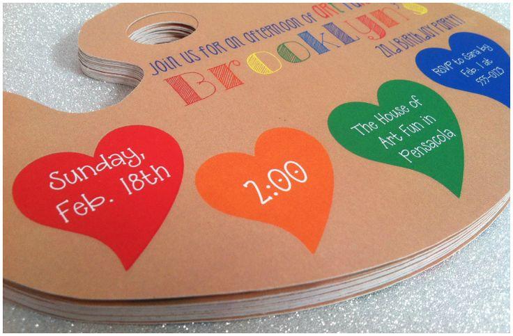 kristins grace - art party invitation - kids party - paint palette