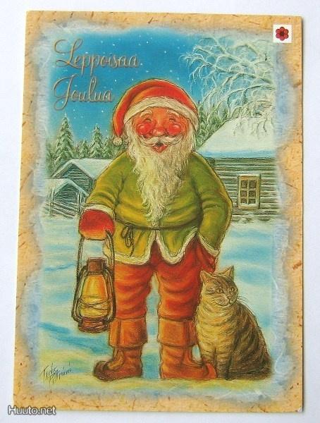 joulukortti, kissa