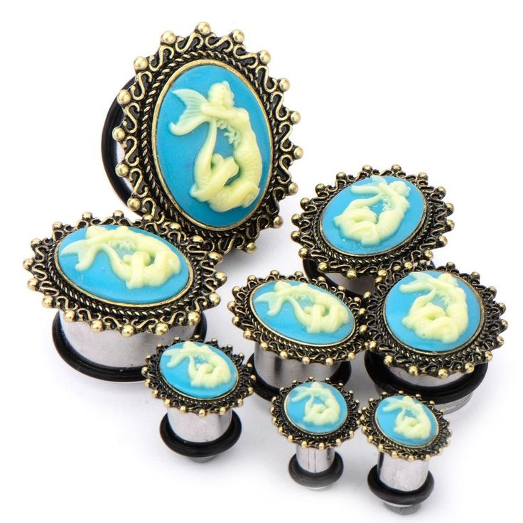 "PAIR - STUNNING MERMAID CAMEO PLUGS SINGLE FLARED EAR GAUGES - 2g-1"" (6-25mm)"