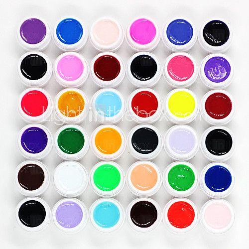36pcs losweken mixs pure effen kleur uv kleur gel fototherapie lijm nagels qq barbie nagel (8 ml) 2017 - $11.66