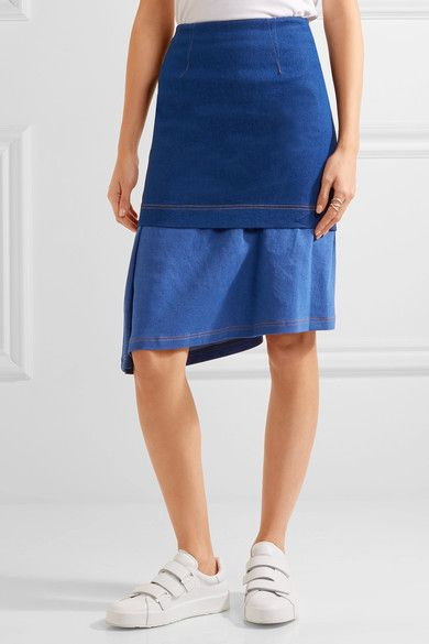 Paper London - Hamilton Asymmetric Layered Stretch-denim Skirt - Blue - UK12