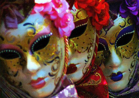 Venetiaanse Maskers - Digitale Schilderij van Dirk van der Ven