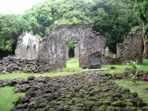 Kaniakapupu:  The remains of King Kamehameha III's summer palace. Located in Nu'uanu on the island of Oahu, the palace was the sight of a luau in 1847 at which it is estimated there were 10,000 people in attendence. The ruins are a short hike off the road through a bamboo forest.