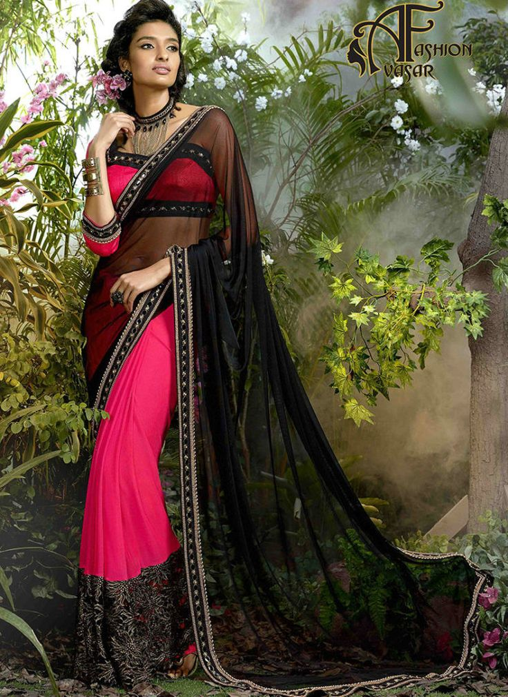 Shopping Chiffon Saree – Black Party Wear Chiffon Saree