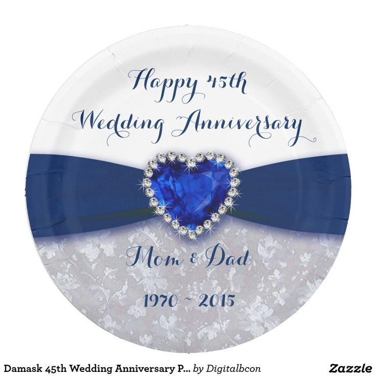 Damask 45th Wedding Anniversary Paper Party Plate