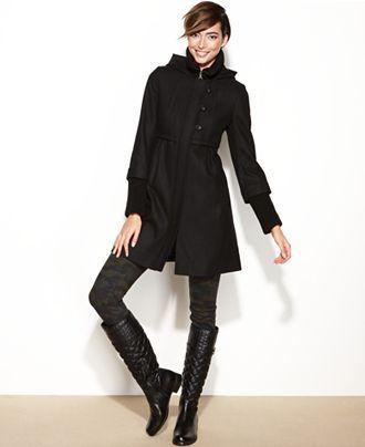 DKNY Coat, Hooded Wool-Blend Walker Babydoll - Coats - Women - Macy's