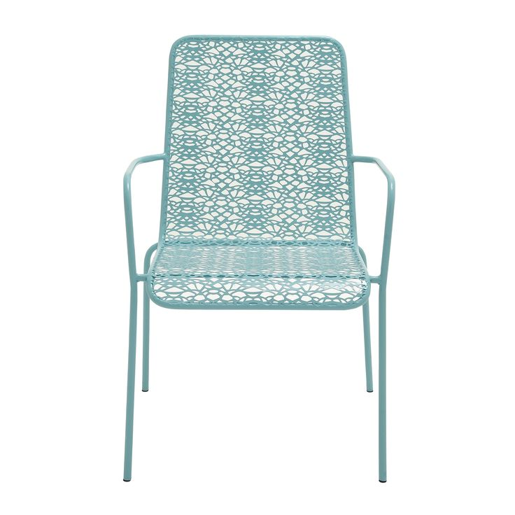 Blue Metal Outdoor Chair (Innovatively Styled Metal Outdoor Chair), Size  Single, Patio Furniture (Iron)