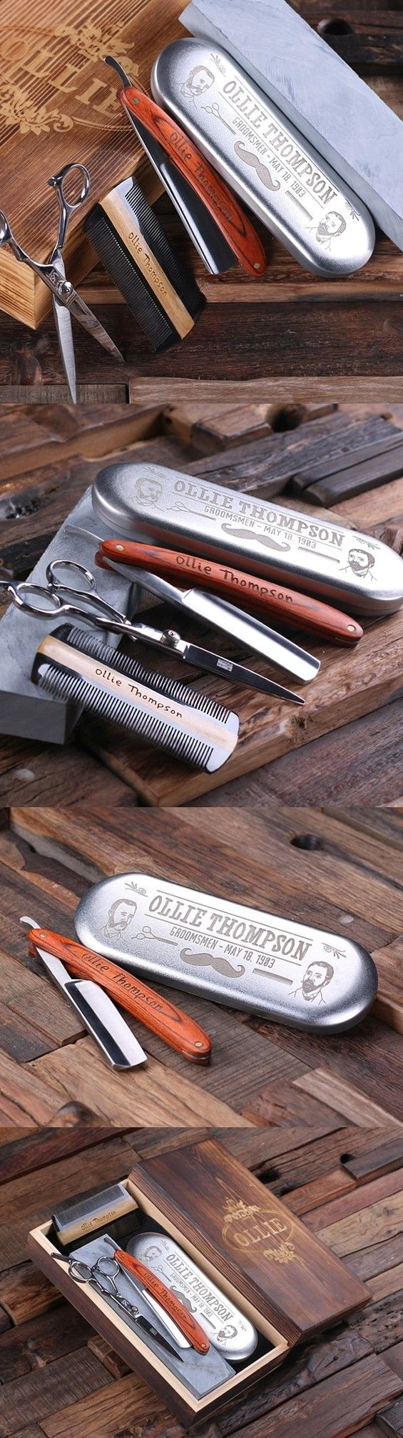 Personalized Barber Grooming Set w/ Straight Razor & Sharpening Stone | Personalized Gifts and Party Favors