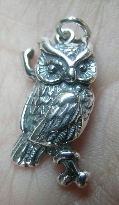 Sterling Silver Owl Charmone charm by lisasummers642008 on Etsy, $9.95