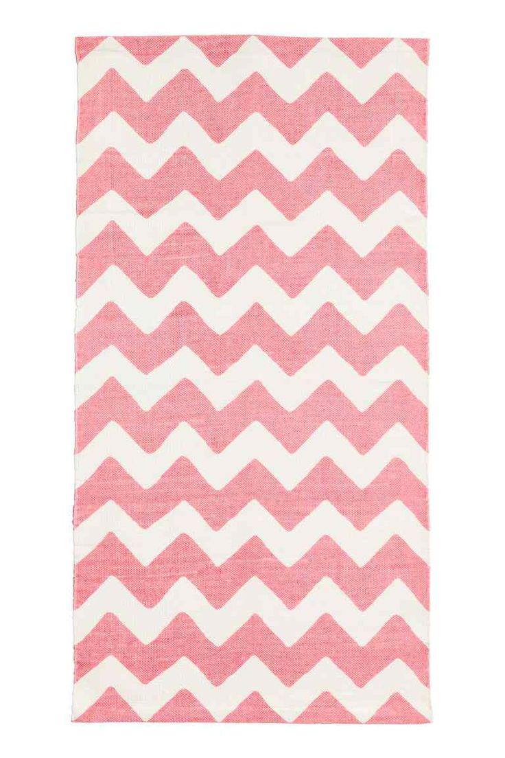 Tapis en coton à motif zigzag - Blanc/rose - Home All | H&M FR 1