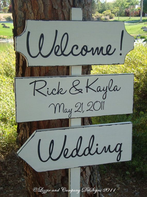 DiReCTioNaL WeDDiNg SiGnS - Handwriting/Modern Style Lettering - WeLCoMe ReCePTioN SiGn - Wedding Arrow Signs - 4ft Stake - Distressed IVORY on Etsy, $89.95