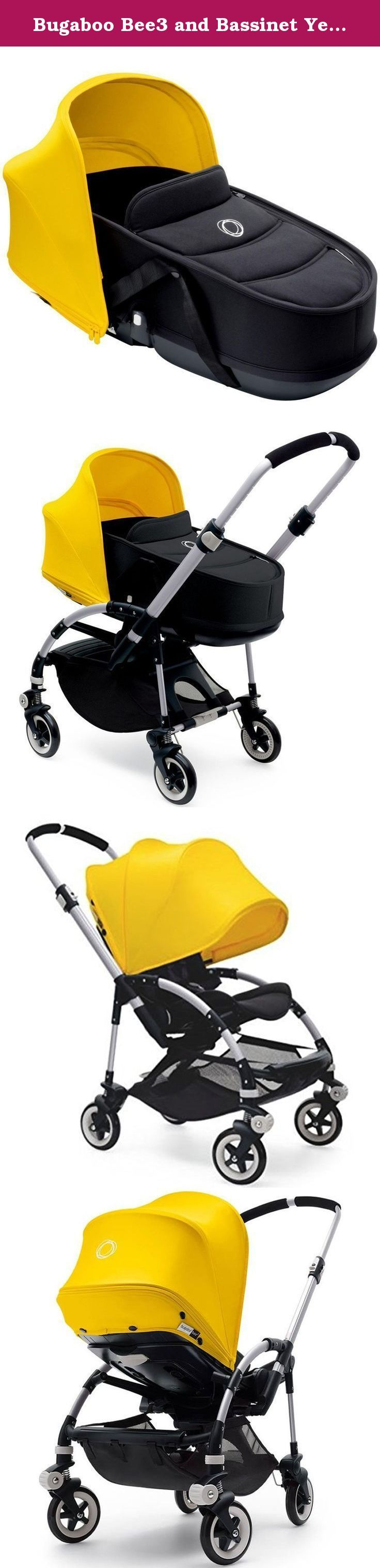 Bugaboo Bee3 and Bassinet Yellow/Black Travel System + Bugaboo Cup Holder. Travel System composed by Stroller and Bassinet. Plus Bugaboo Cup Holder.