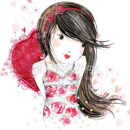 Милая девушка с красным сердцем. День Святого Валентина. Акварельные иллюстрации девушка. акварельный рисунок Валентина сердце. День Святого Валентина фон для поздравительной открытки — стоковое изображение #94197012