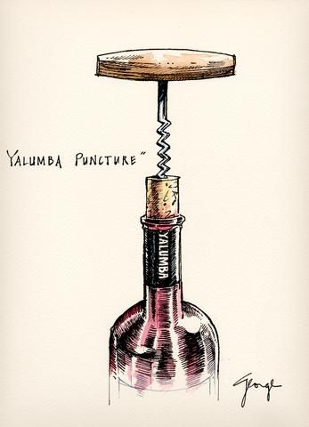"Wine cartoon ""Yalumba Puncture"" by George  Aldridge, 2000. (Uncork) (Wine Bottle Illustration)"