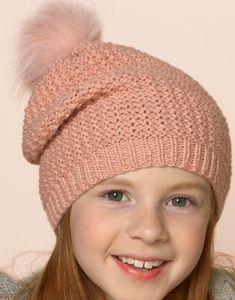modèle de bonnet à pompon enfant facile à tricoter