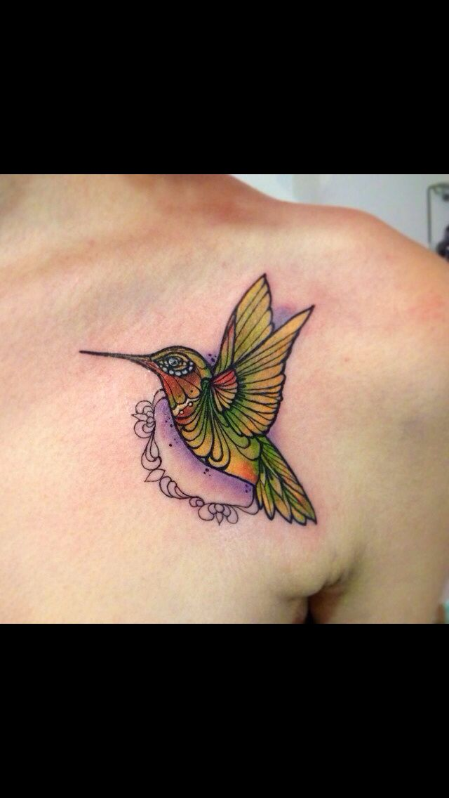 Neo traditional hummingbird tattoo I love the hummingbird its self but I don't like the detailing around it.