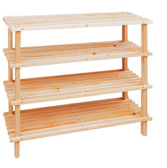 Shoe Rack Wooden Shoe Stand Holder Organiser Storage Shelf Unit Shelves 4 Tiers