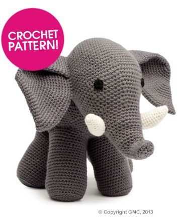 Oh! He is so cute! I want to squeeze him! <3   http://www.deramores.com/elephant-pattern/ - free pattern