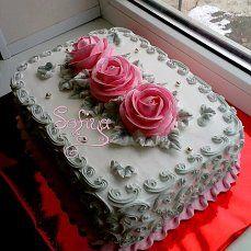 Dort krémový * narozeninový - zdobený šedými ornamenty a růžovými růžemi ♥