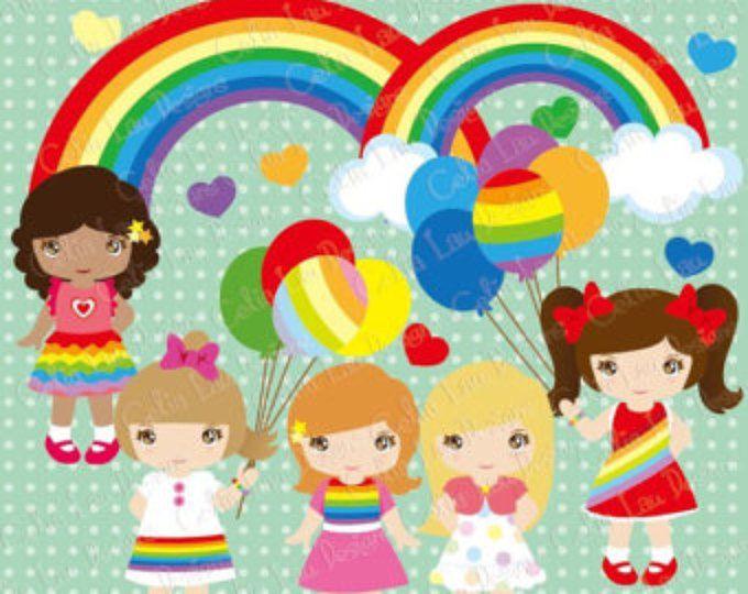 Arco iris chica gráfico linda chica y arco iris clipart prediseñadas globo vestido set (CG049) para el Personal y el uso comercial de la instantánea descargar