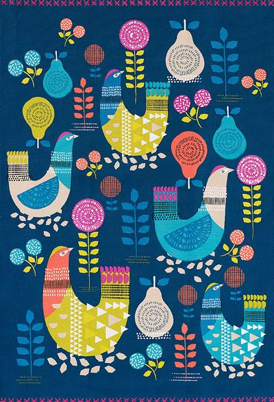 the print & pattern blog features marks & spencer's beautiful 'Hen' tea towel.