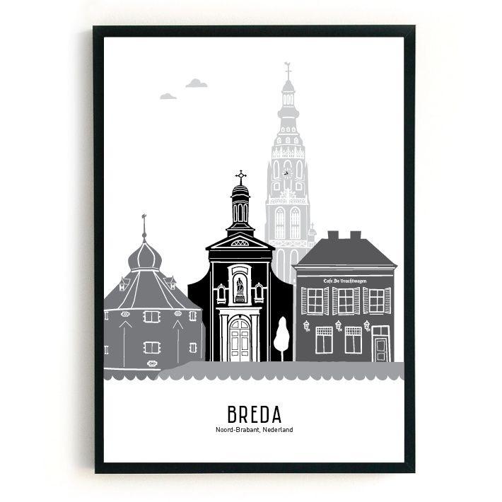 MevrouwEmmer.nl - Poster skyline Breda zwart-wit-grijs: dan denkt Mevrouw Emmer aan de Grote Kerk, het Spanjaardsgat (stadsmuur), het Begijnhof en het oudste cafe van de stad 'De Vrachtwagen'...