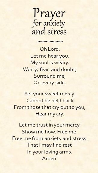 A simple prayer for anxiety and stress.
