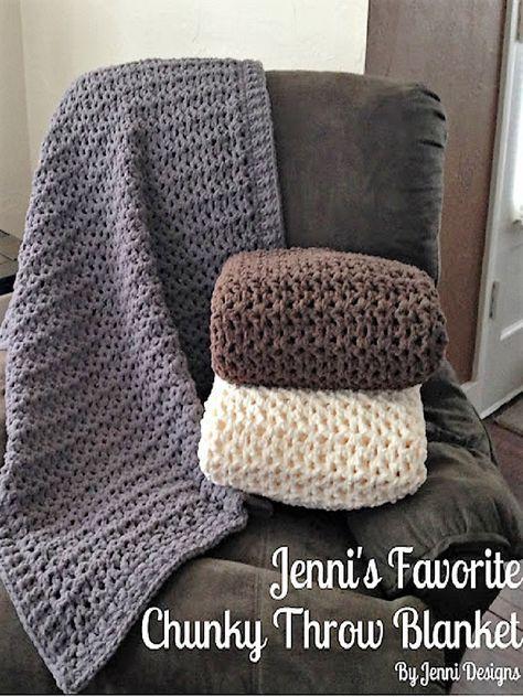 Free Crochet Pattern: Jenni's Favorite Chunky Throw Blanket