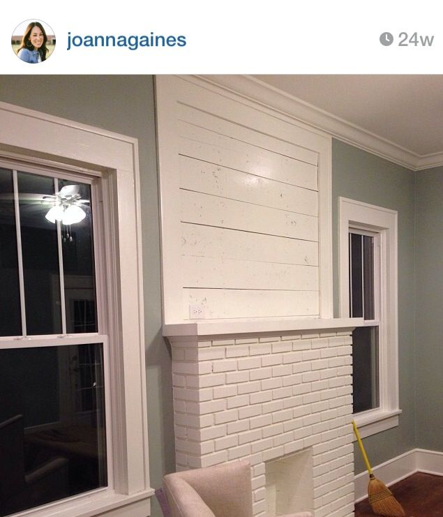 Dining room fire place: white wash brick and shiplap wood create great texture (but not as weathered looking)