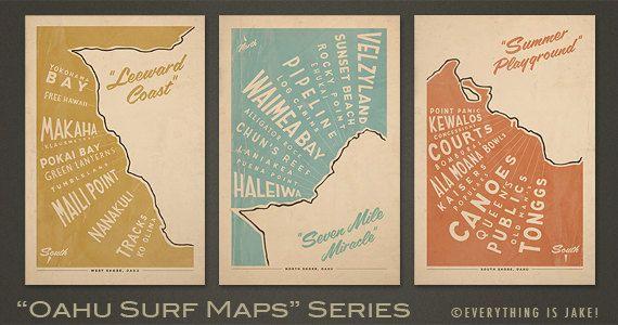 Oahu Surf Maps Series - 12x18 Retro Hawaii Prints everythingisjake on etsy.com
