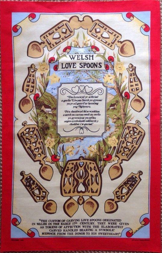 Welsh Love Spoons Tea Towel