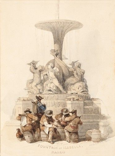 ROBERTS, David. A fine original watercolour over pencil Fountain of Isabella. Madrid.  [Madrid], dated and signed David Roberts 1836.
