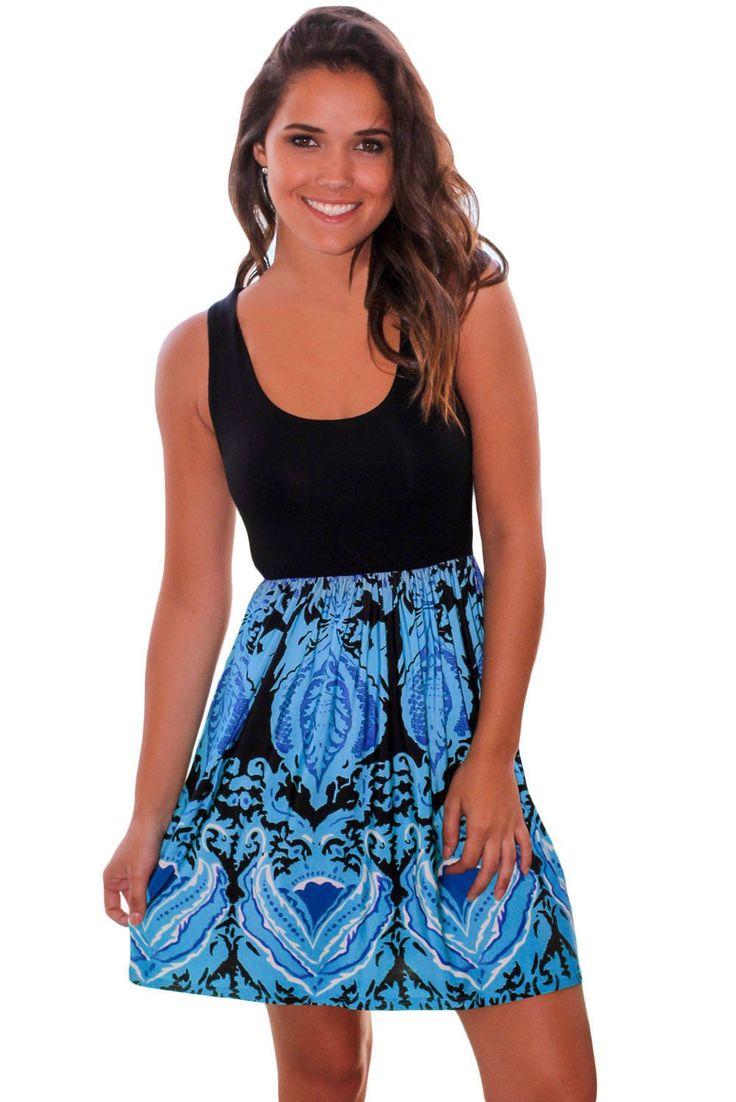 Aqua Printed Short Dress