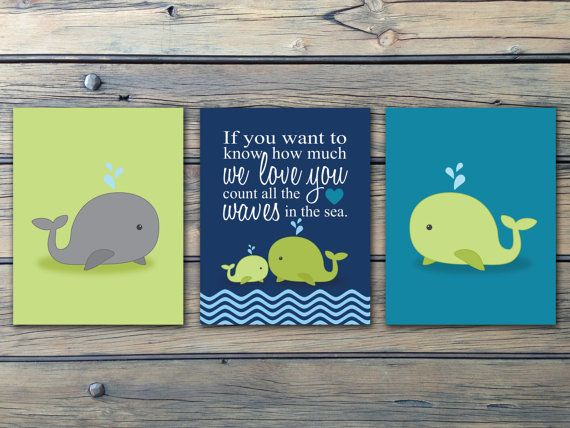 Nautical Boys Nursery Art, Navy Green Teal Whales n Waves n Anchors - INSTANT DOWNLOAD - Whales, Anchor and Saying-Set of 4