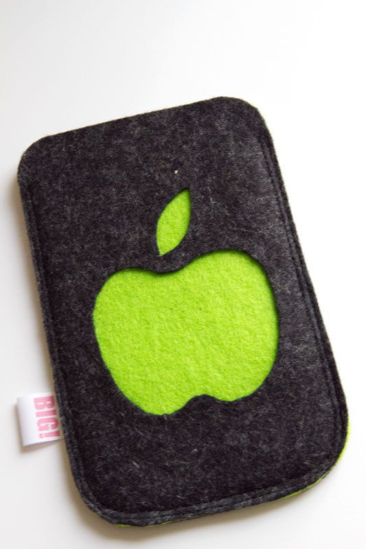 Felt cell phone cover or case - heathered charcoal black and apple green…
