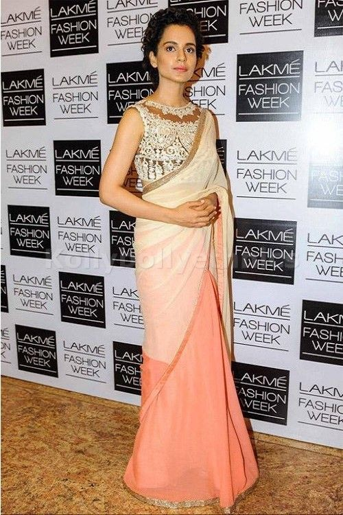 Bollywood Actress Kangana Ranaut Georgette Saree in Peach and White color