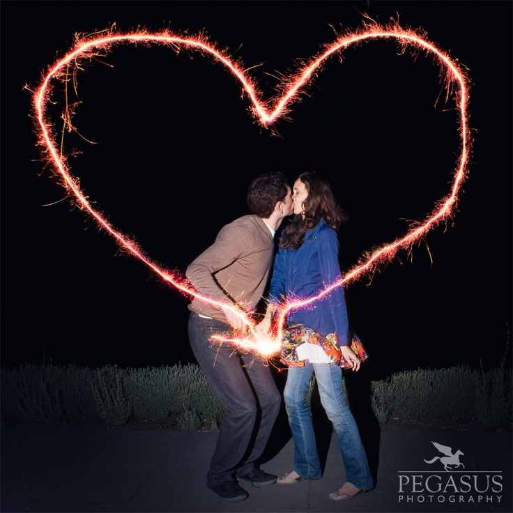 Auckland Engagement Photography love heart with a sparkler firework