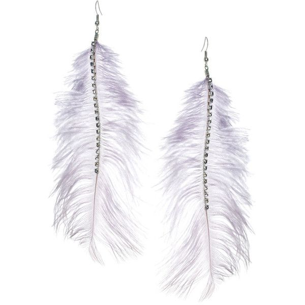 Oasis Feather Earrings ($5.23) ❤ liked on Polyvore featuring jewelry, earrings, accessories, bijoux, brincos, grey, gray earrings, grey jewelry, fish hook jewelry and diamante jewelry